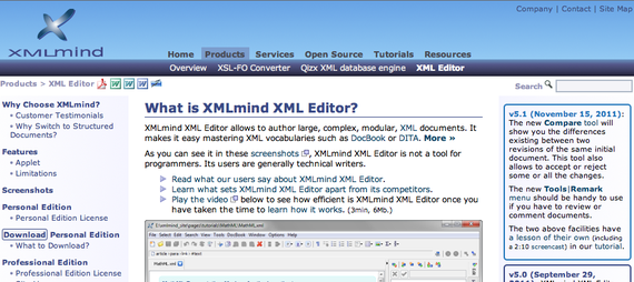 リンク先【XMLmind XML Editor: XMLmind XML Editor 】のイメージ画像