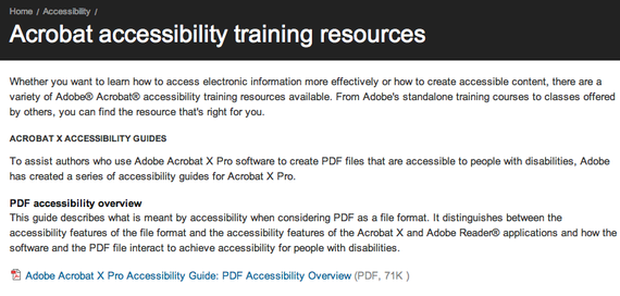 Adobe - Accessibility training resources