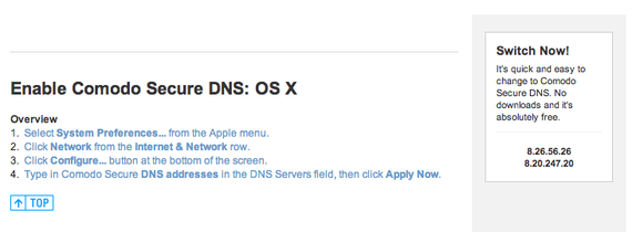 Secure DNS for Mac OS X Setup Instructions - Comodo