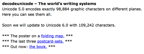 decodeunicode.org . Last Entries