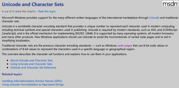 Unicode and Character Sets