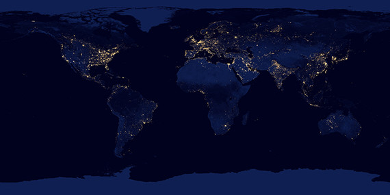 Night Lights 2012 - Flat map : Natural Hazards