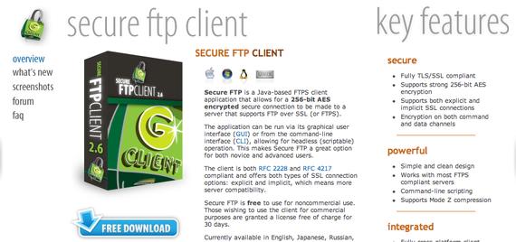 Glub Tech: Secure FTP - a 256-bit strong cross-platform FTPS client