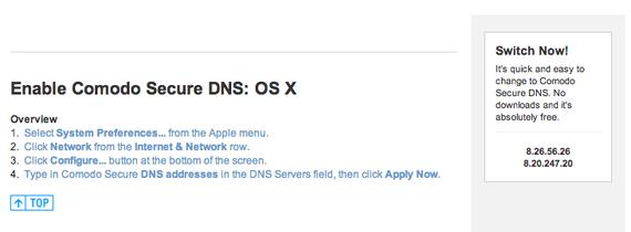 Secure DNS for Mac OS X Setup Instructions - Comodo